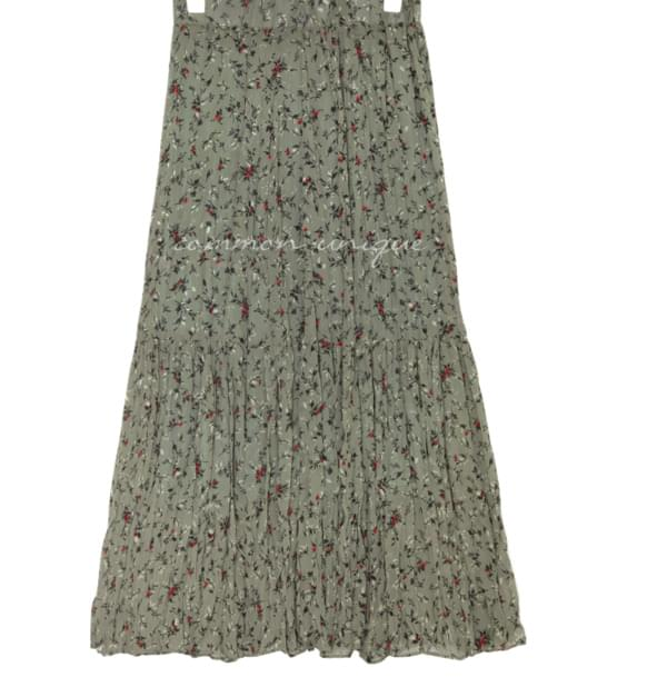 VASE FLORAL CREASE LONG SKIRT