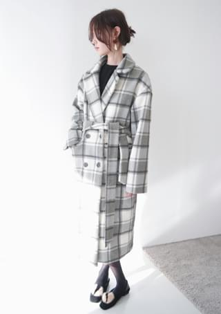 smooth check double long coat