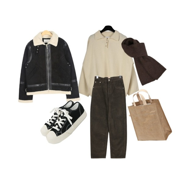 daily monday Soft texture loose collar knit,AIN ace leather line mustang,BULLANG GIRL 큐티한골덴P등을 매치한 코디