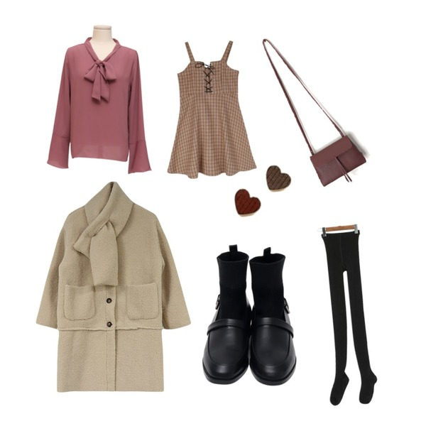 acomma 노아 머플러 세트 양털 - ct (2COLOR),From Beginning Anderson tie blouse_Y (size : free),GIRLS RULE 비바 빈티지 체크원피스 (ops887)등을 매치한 코디