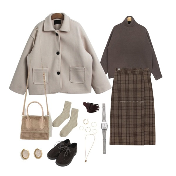 TODAY ME 하더 코트,AIN merry wool warmer polar knit,common unique AMONG WOOL CHECK WRAP LONG SKIRT등을 매치한 코디