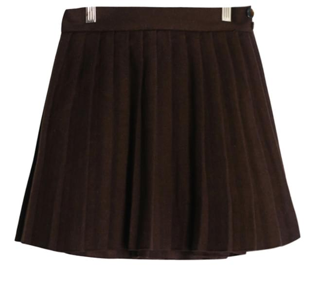 Wool button pleated skirt