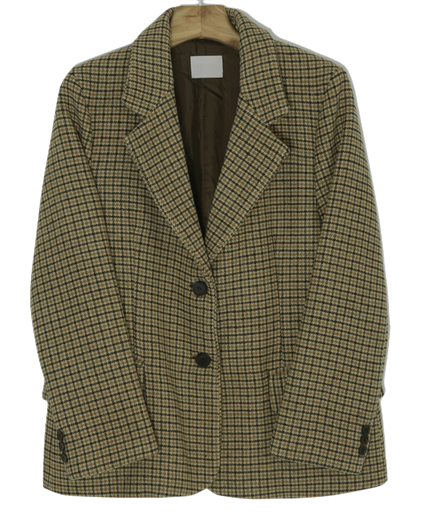 Gingko-check wool jacket