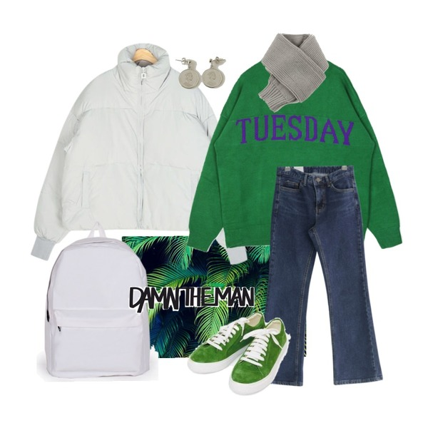 green,AIN frame duckdown padding,openthedoor A week round knit (7 color) - UNISEX등을 매치한 코디