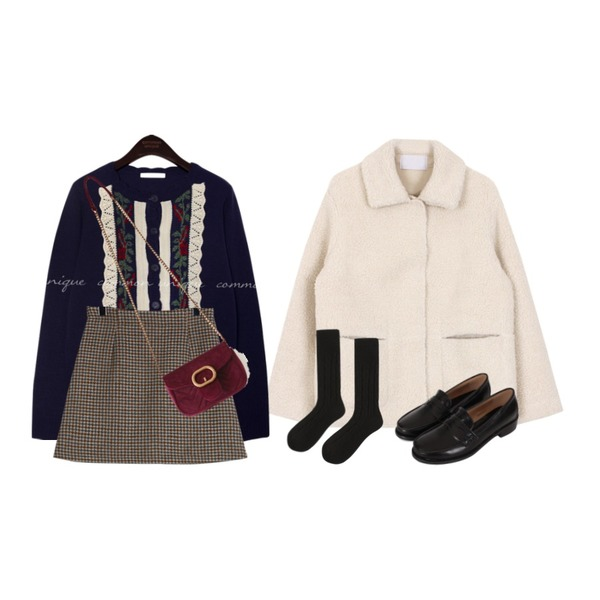 common unique VINTAGE FLOWER WAVE KNIT CARDIGAN,daily monday Hound tooth check mini skirt,biznshoe Shearing jacket (2color)등을 매치한 코디