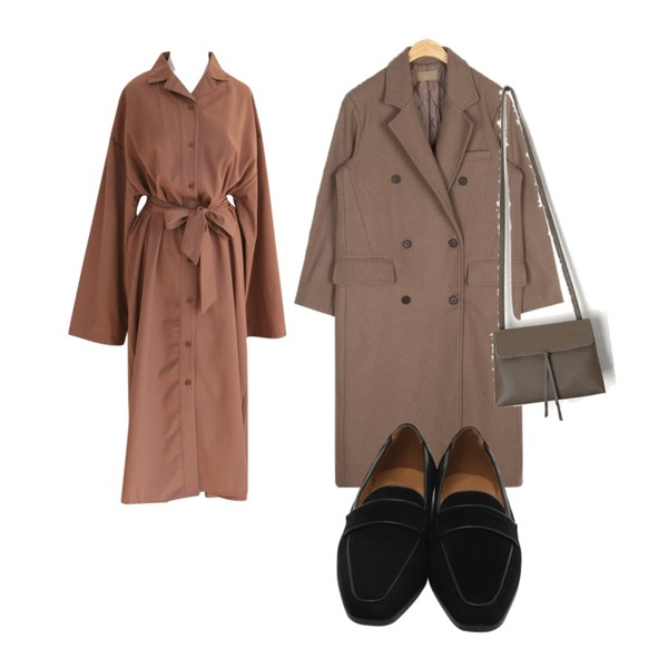SUNSHINE WITH ME [C]로브앤-ops,AIN low wool long coat,AIN tassel mini shoulder bag등을 매치한 코디