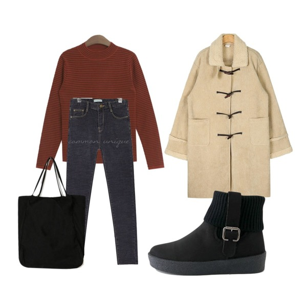 TODAY ME 졸리 니트,AIN living corduroy duffle coat,common unique MINE NAPPING SLIM DENIM SKINNY등을 매치한 코디