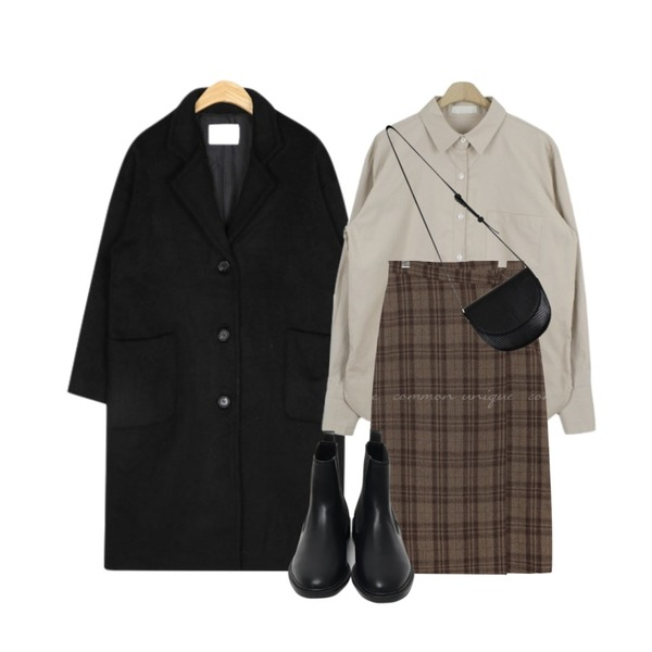 about moon 기모 베이직 남방 (2 color),AIN wool pocket single coat,common unique AMONG WOOL CHECK WRAP LONG SKIRT등을 매치한 코디