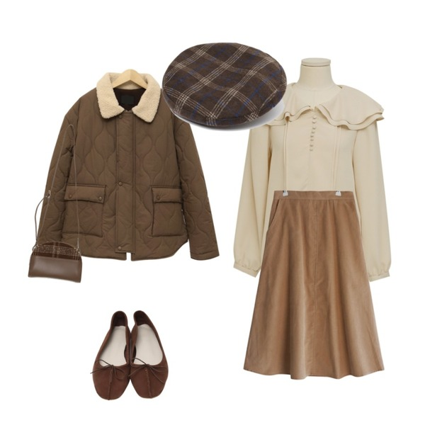 From Beginning Ribbon calf flat shoes_H (size : 230,235,240,245,250),GIRLS RULE 코듀로이 롱 플레어스커트 (sk1605),From Beginning Mile frill collar blouse_K (size : free)등을 매치한 코디