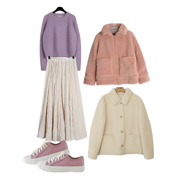 LOVELY SHOES 코듀로이 스니커즈 3cm,daily monday Fisherman plain round knit,daily monday Satin crease banding skirt등을 매치한 코디