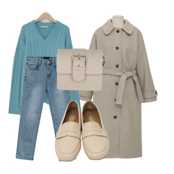 From Beginning Play slim straight denim_B (기모) (size : S,M,L),From Beginning Dumble collar wool coat_B (울 40%) (size : free),From Beginning Coconut soft v-neck knit_M (size : free)등을 매치한 코디