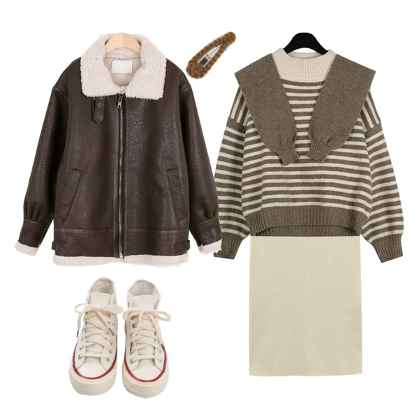 MOREDAY 어반 무스탕 (2color),From Beginning Slit long knit skirt_K (울 35%) (size : free),daily monday Cute hooded stripe knit등을 매치한 코디