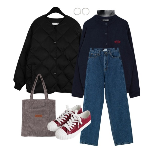 GIRLS RULE 비비드 단가라 터틀넥 티(t5541),daily monday Dia square quilting jumper,MIXXMIX Untitle8 Simple Cardigan등을 매치한 코디