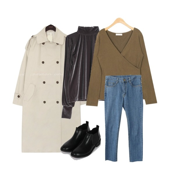 GIRLS RULE 레트로 벨벳 폴라티 (t5646),AIN deep v-wrap T,common unique [OUTER] RORE DOUBLE TRENCH COAT등을 매치한 코디
