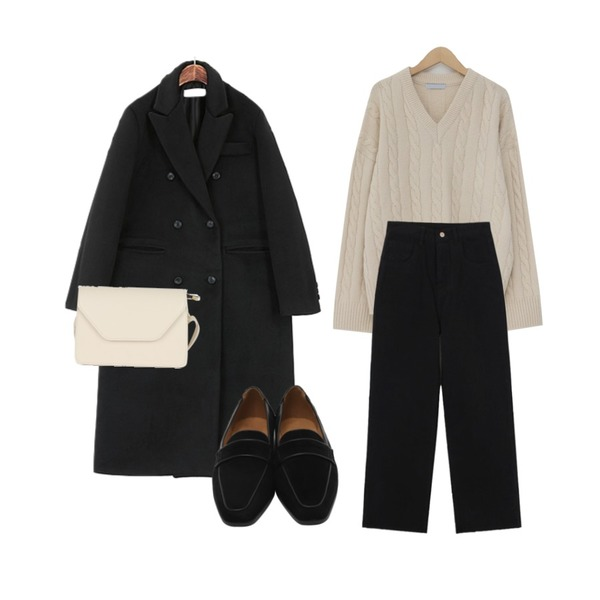 ROCOSIX 윤비 더블 코트,biznshoe Napping cotton wide pants (2color),From Beginning Coconut soft v-neck knit_M (size : free)등을 매치한 코디