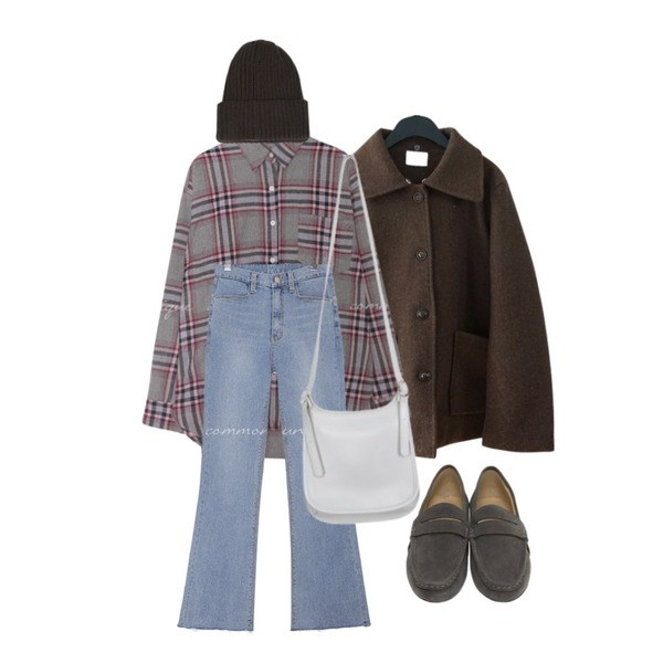 common unique SLICE BOOTS SPAN DENIM PANTS,AFTERMONDAY kitsch collar pea jacket (2colors),common unique MAYBE TARTAN CHECK SLIT SHIRTS등을 매치한 코디