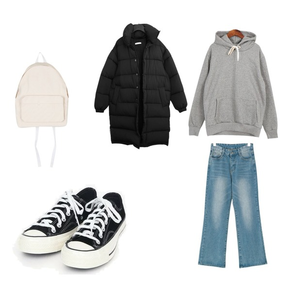 AIN coloring canvas sneakers (225-250),Dailyco 기본무지후드-hd(기모),BANHARU wide fit napping denim pants등을 매치한 코디