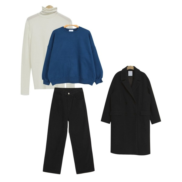 BULLANG GIRL 보소밍기본MTM(양기모),From Beginning Mandarin color pola T_K (size : free),openthedoor warm cotton wide pants (2 color)등을 매치한 코디
