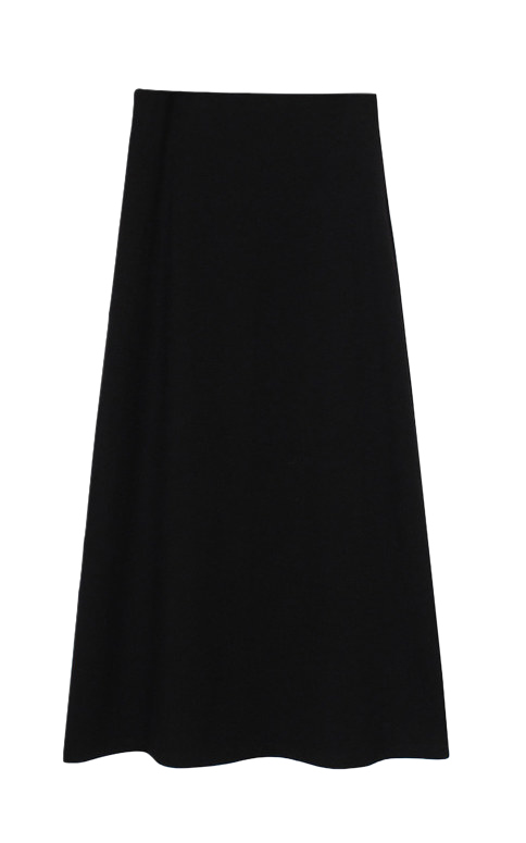 Knit long skirt (Black)
