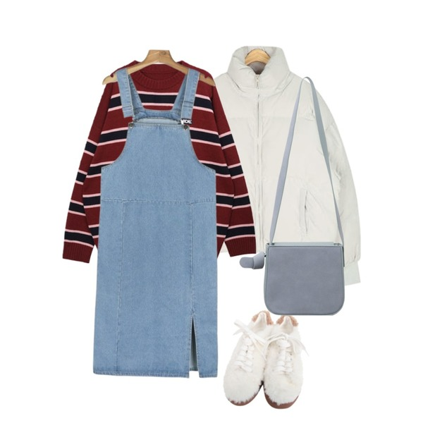 daily monday Long suspender slit one-piece,AIN cover highneck duckdown padding,MIXXMIX HIDE Logo Stripe Knit등을 매치한 코디