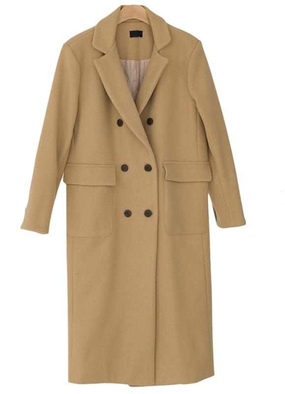 Double-button back knit wool coat-ct
