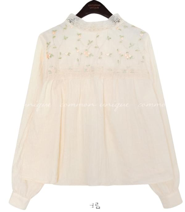 LACE NEEDLE GAUZE COTTON BLOUSE