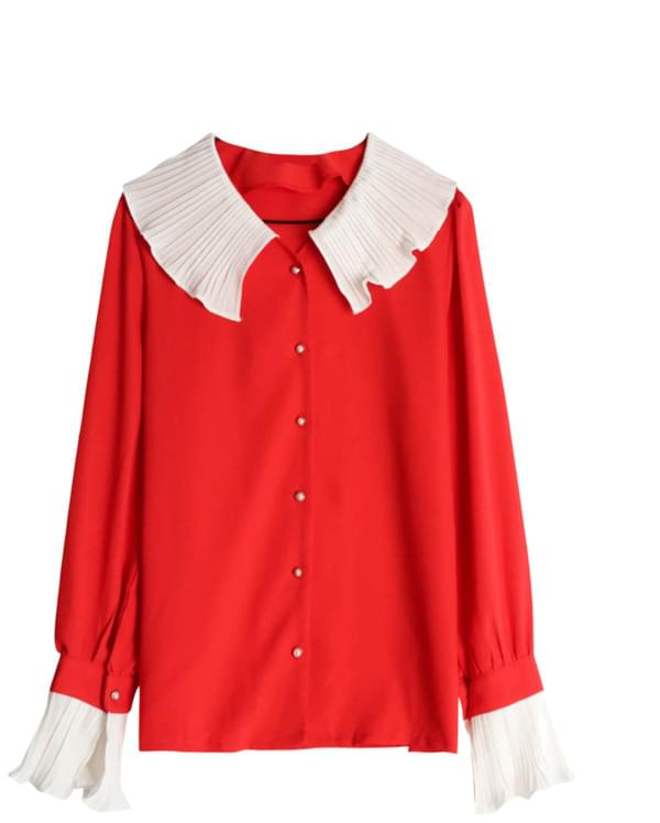 Frill pearl button blouse