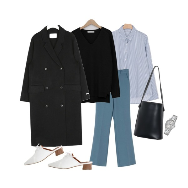 BANHARU high-waist semi boots-cut maxi slacks,somedayif jimmy stripe shirt (2colors),From Beginning Soft basic v-neck knit_B (size : free)등을 매치한 코디