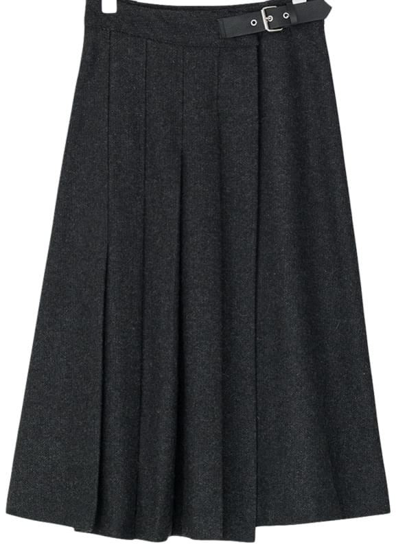 belted detail pleats skirt