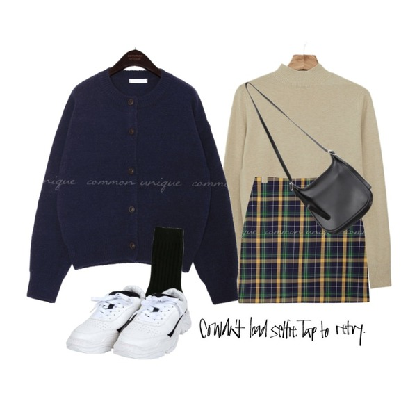 common unique 5 COLOR SPAN ROUND KNIT CARDIGAN,Zemma World 찰떡캐미 반목니트 (캐시미어혼용),common unique [SKIRT] DOLOS CHECK COLOR MIX MINI SKIRT등을 매치한 코디