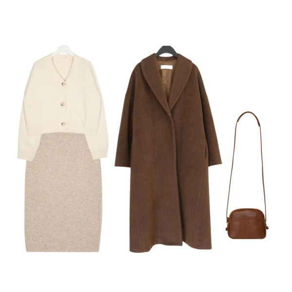 BANHARU comfortable shoulder bag,AFTERMONDAY among over fit long coat (2colors),AIN plat wool knit skirt등을 매치한 코디