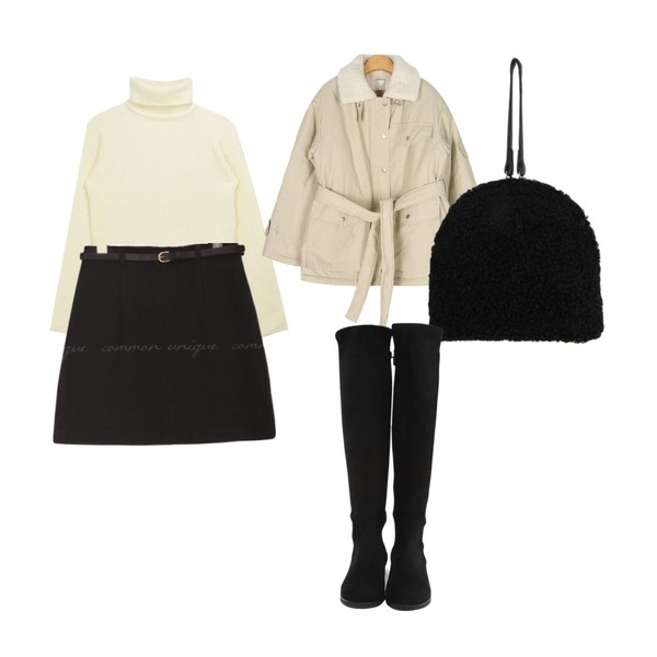 common unique OILLY BELT SET MINI SKIRT,AIN core dumdle safari jumper,MIXXMIX Span Turtleneck Knit등을 매치한 코디