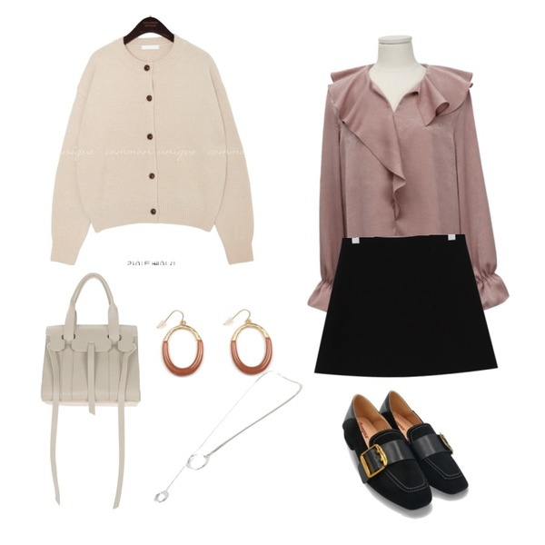 From Beginning Wave satin frill blouse_H (size : free),common unique 5 COLOR SPAN ROUND KNIT CARDIGAN,From Beginning Slow simple mini skirt_M (size : S,M)등을 매치한 코디