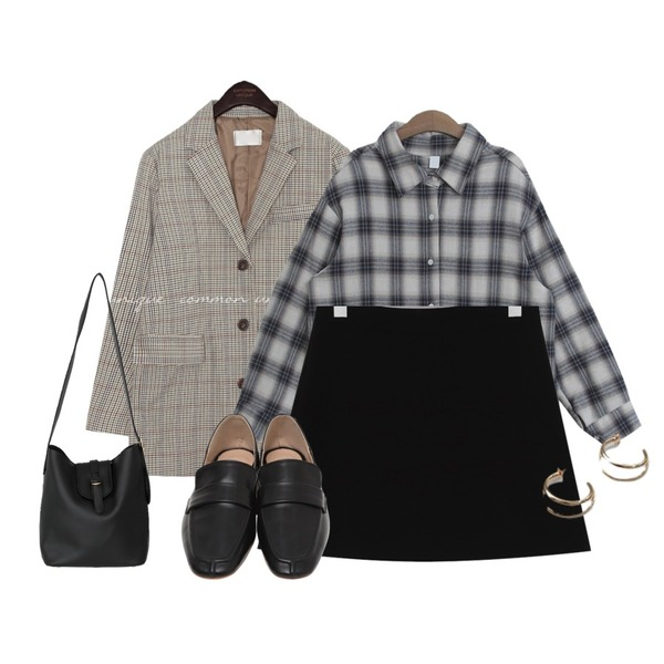 TODAY ME 크라운 셔츠,common unique [OUTER] MAGEL HOUND CHECK SINGLE JACKET,From Beginning Slow simple mini skirt_M (size : S,M)등을 매치한 코디