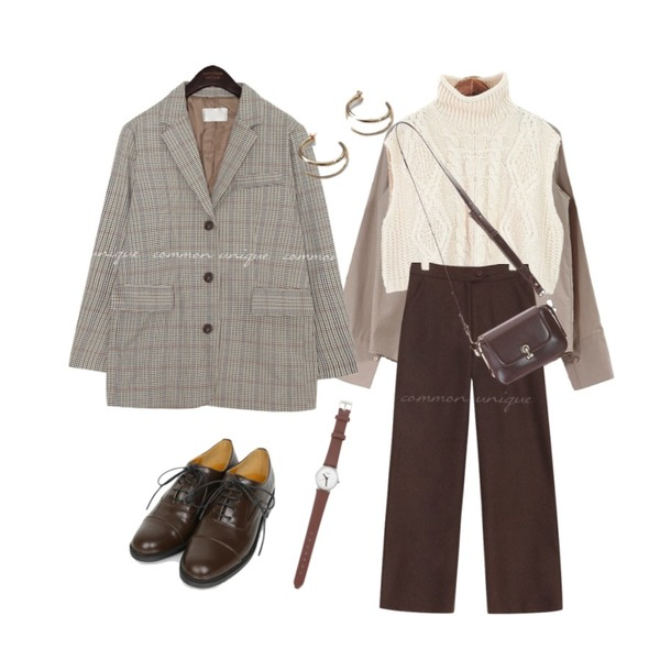 acomma 드밍 베이직 - nb (5COLOR),AIN sharp basic oxford loafer (230-250),common unique [OUTER] MAGEL HOUND CHECK SINGLE JACKET등을 매치한 코디