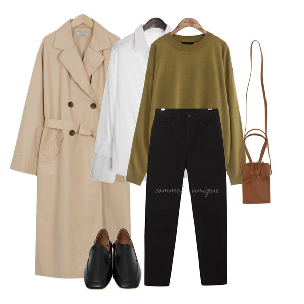 common unique [TOP] DEEP COLOR ROUND NECK KNIT,ROCOSIX cuffs solid shirts,From Beginning Made_outer-089_coating trench coat (size : free)등을 매치한 코디