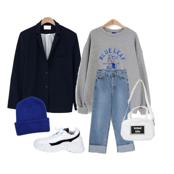 LOVELY SHOES 데이엘 와이드 데님 팬츠,LOVELY SHOES 블루곰 맨투맨,BANHARU two button easy jacket등을 매치한 코디