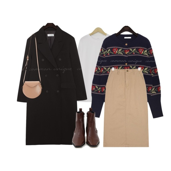 common unique [OUTER] ORING FLOWER WOOD KNIT CARDIGAN,common unique [OUTER] RONDA UNIQUE DOUBLE LONG COAT,From Beginning Loose round cotton T_K (size : free)등을 매치한 코디