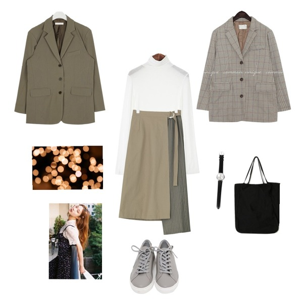 BANHARU coloring pleats skirt,From Beginning Win real cowskin sneakers_H (size : 225,230,235,240,245,250),ROCOSIX 텐션 폴라 티셔츠등을 매치한 코디