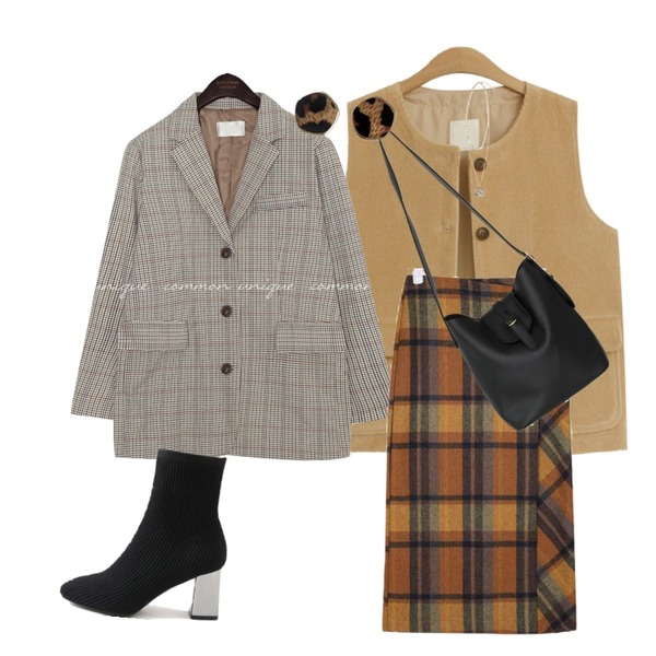 AIN viva button wool check skirt (s, m),common unique [OUTER] MAGEL HOUND CHECK SINGLE JACKET,TODAY ME 치트 골덴 조끼등을 매치한 코디