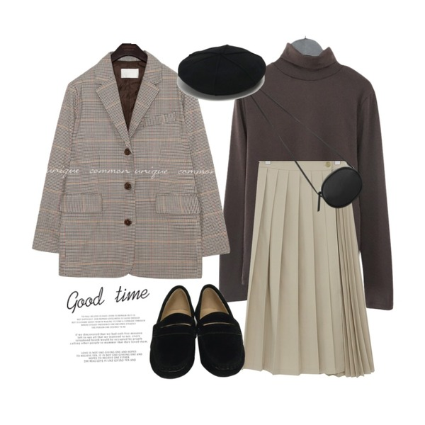 From Beginning Bread pleats skirt_K (size : free),common unique [OUTER] MAGEL HOUND CHECK SINGLE JACKET,AFTERMONDAY high-tension warm pola tee (4colors)등을 매치한 코디