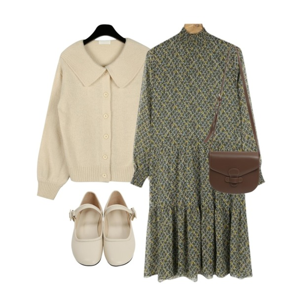 daily monday Daily half neck chiffon one-piece,From Beginning Soap mary-janes flat shoes_K (size : 225,230,235,240,245,250),daily monday Cute collar short cardigan등을 매치한 코디