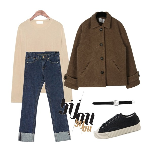 common unique [TOP] 8 COLOR SLENDER MODAL T,daily monday Sleeves epaulet short jacket,ROCOSIX 도리스 데님 팬츠등을 매치한 코디