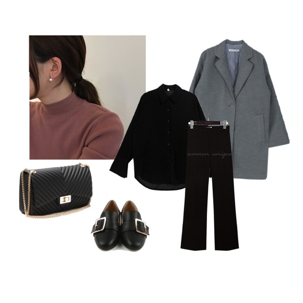daily monday Big point buckle loafer,lavenir (silver925) link earring,MIXXMIX 레이 싱글 코트(누빔)#균일가할인등을 매치한 코디