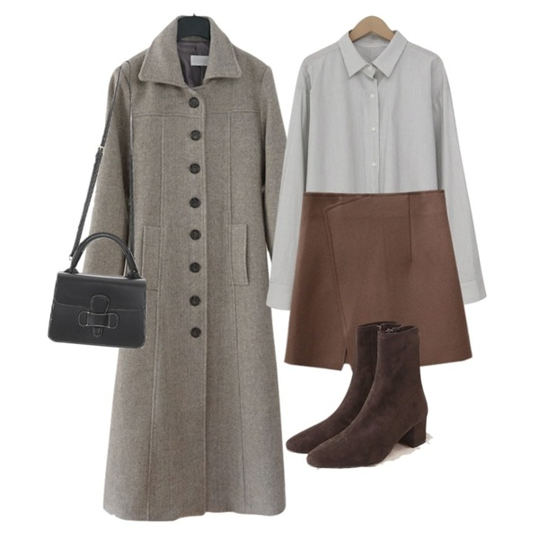 ENVYLOOK 모직랩스커트,AFTERMONDAY steady round button coat (2colors),From Beginning Soft line boxy shirts_B (size : free)등을 매치한 코디