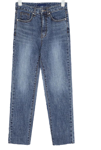 three straight denim pants