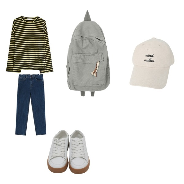 From Beginning Vise simple straight denim_M (size : S,M,L),From Beginning White real Leather sneakers_J (size : 225,230,235,240,245,250),GIRLS RULE 덤덤 단가라 긴팔 티셔츠 (t5925)등을 매치한 코디