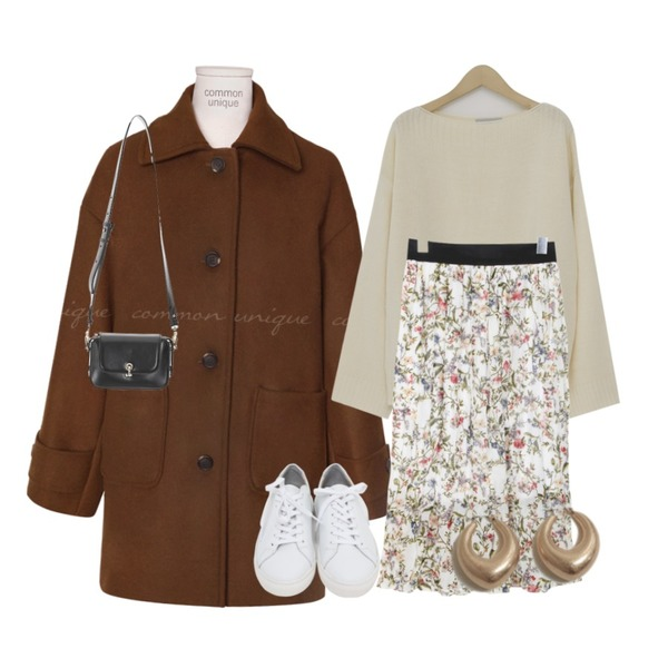 common unique HAVE WOOL 50% POCKET HALF COAT,BULLANG GIRL 플레르주름SK,From Beginning Molly soft round knit_K (size : free)등을 매치한 코디