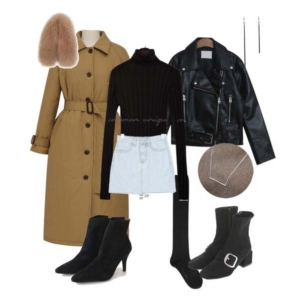 AIN wish daily half stocking,From Beginning Warm padding trench coat_B (size : free),TODAY ME 본즈 라이더 자켓등을 매치한 코디
