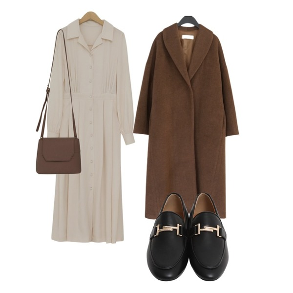 AFTERMONDAY among over fit long coat (2colors),From Beginning Claude shirring long dress_B (size : free),From Beginning Classic mood buckle loafer_B (size : 225,230,235,240,245,250)등을 매치한 코디
